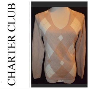 Charter Club Tan Argyle V Neck Cashmere Sweater